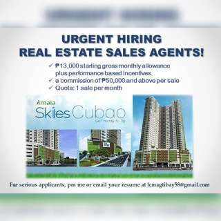 Real Estate Sales Agents - Urgent Hiring!