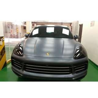 【騰信車體包膜】Porsche Cayenne 全車STEK消光透明TPU犀牛皮保護膜包膜(前保桿)