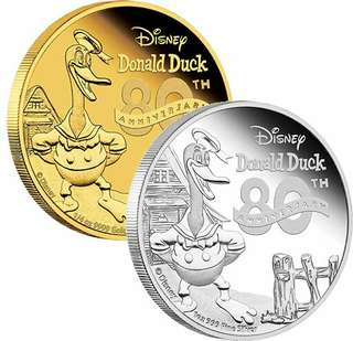 Donald Duck 80th Anniversary 1/4 gold and 1 oz silver
