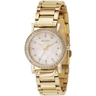MOTHER OF PEARL DIAL GOLD-TONE CASUAL LADIES WATCH NY4792