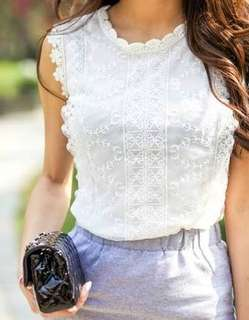 White embroidered Mesh Top