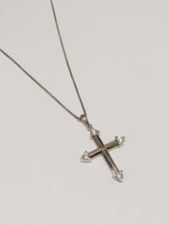 925 silver, 45cm chain with CZ cross pendant.