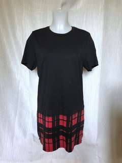 Black with checkered red shirt dress