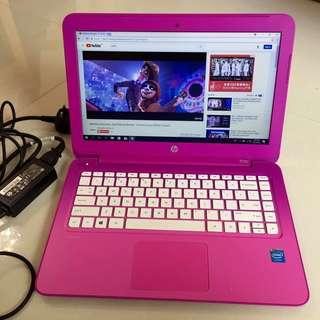 "98%Super New Girlish Pink slim HP Stream 13.3"" Windows10 N2840 2G ram 32G SSD HDMI 5-8 hour battery with charger要中文版可預先通知轉回中文版才交收"