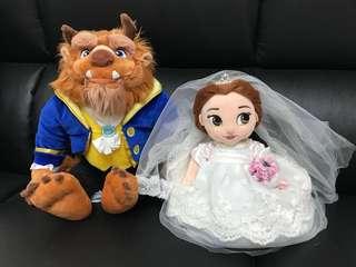 正版Disney(未剪牌)美女與野獸結婚公仔/花車公仔
