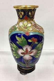迷你景泰藍花瓶連木座一個