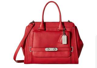 Coach Soft Grain Swagger Frame in Red