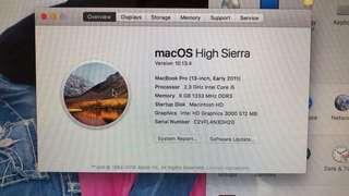 90%新2011年macbook pro 13 i5@2.3 8gb ram 320gb Hdd 可自行改配置