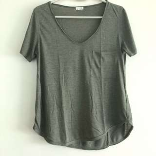 FREE with any item bought || Olive Green Plain V-Neck Tee
