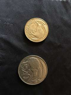 New Zealand 20c & 1 dollar