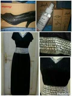 Long dress, high heels, faceoil