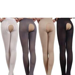 [S-XXL]120D 厚款開襠絲襪 White Open stockings #60-120d  (White / Black / Gray / Skin