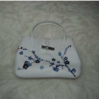 Longchamp Small White Leather Bag with Blue Blossom Embroidered