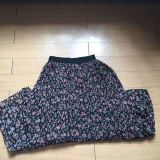 Black Maxi Skirt with Floral Design