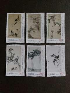 中國郵票 2002-2 八大山人作品選 名人字畫一套6全全新