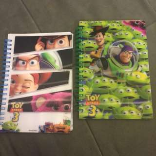 Toystory notebook 2本$30 Buzz Lightyear Woody