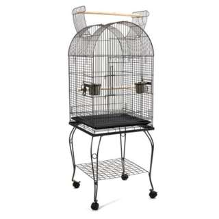 Large Bird Cage with Perch  Black Elegant Curved Stands