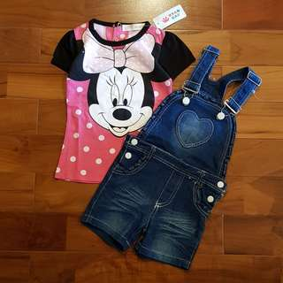 Minnie polkadot set overall jeans