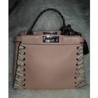 Fendi Peekaboo Medium Ribbon Whipstitch Satchel Bag in Pink