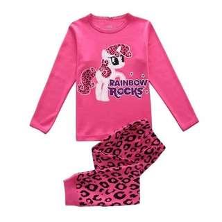 外貿 女童睡衣 彩虹小馬Pony純棉冷氣房居家服 長袖兩件套童裝 7T 130碼 質感好 無標籤