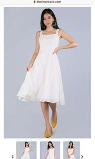 Bnwt ttr thetinselrack Verina white linen midi dress