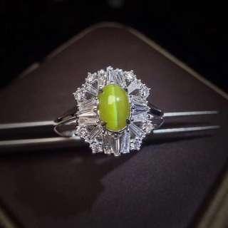 18K金 無燒金貓眼鑽石戒指