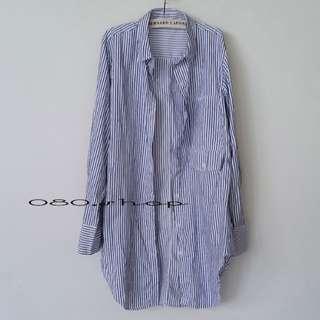 🚚 直條紋寬鬆遮陽防曬中長款襯衫#女裝半價拉