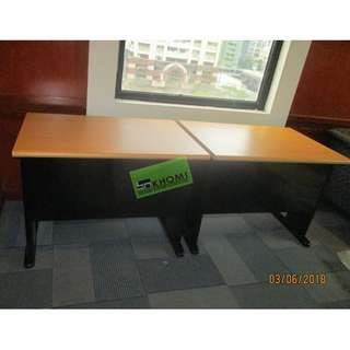 FST-OFFICE TABLE-33 BEECHWOOD TOP BLACK LEGS--KHOMI