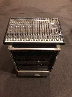 16 Channel Mackie Mixer with 3 Amps