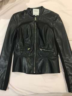 Zara black leather jacket with gold details