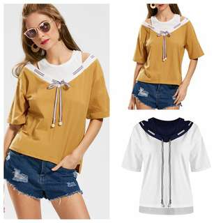 Women's Bowknot Cut Out Two Tone Top