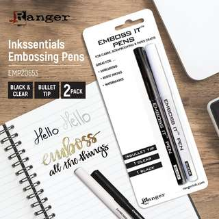 Ranger EMP20653 Inkssentials Embossing Pens, 2-Pack, Black And Clear