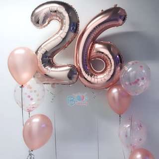 🚚 40'' Rose Gold Number Helium Balloon