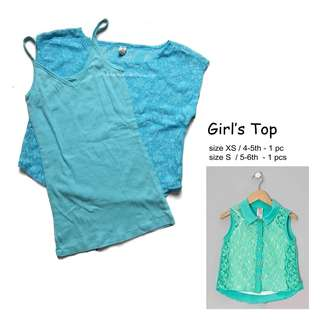 NEW Girl's crop top lacey blue