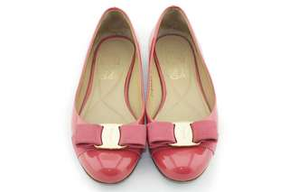 SALVATORE FERRAGAMO Patent Leather Varina Bow Ballerina Flats