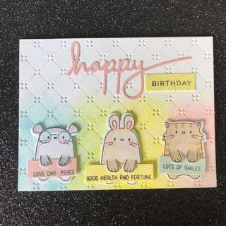 Critters birthday card