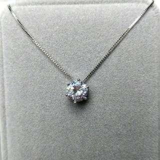 簡約經典1.30卡閃亮圓型吊墜頸鏈 Simple Classic 1.30 carat  Flashing Round Pendant Necklace