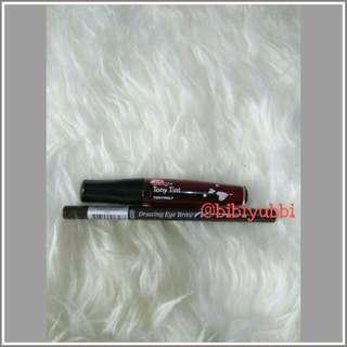 tony moly lip tint & etude eye drawing
