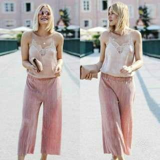 🍃Pink Trendy Chiffon Terno Top and Pants