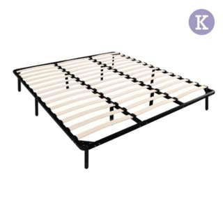 Metal Bed Base Frame  Black  Bentwood Slats