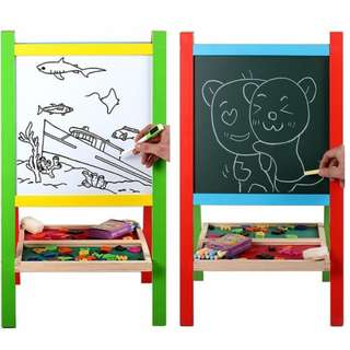 XL Size Wooden Portable 2-in-1 Blackboard and Whiteboard Easel Set Kids Learning