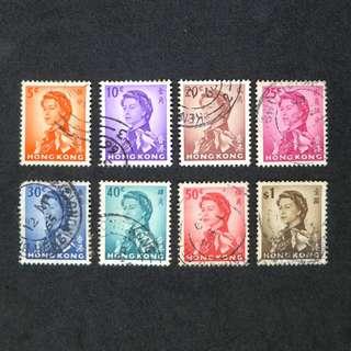 1962年發行伊利莎伯二世頭像香港通用郵票共8枚