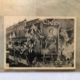 Vintage Old Photo - Old Black & White Photograph showing a Queen Elizabeth II photo in front of some shophouses (11.5 by 8.5cm)