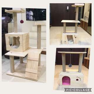 (New!)Pinewood cat scratch house tree bed