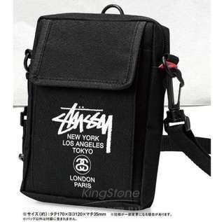 🚚 STUSSY黑色logo潮男街頭潮牌個性側背斜肩包腰包收納工具手機包