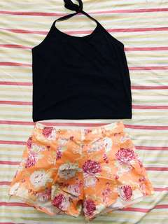 SET C GREAT DEAL HALTER TOP AND FLORAL SHORTS