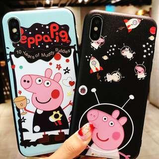 (Y)手機殼IPhone6/7/8/plus/X : Peppapig小豬全包黑邊磨砂軟殼