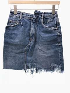 NWOT ZARA Distressed Denim Mini Skirt
