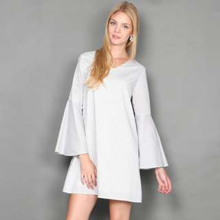 [FABFAD] Pin Striped Bell Sleeve Dress - White