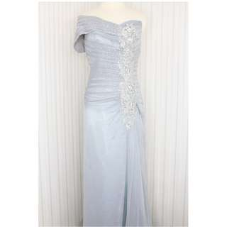 Long dress /Gaun pesta warna Abu One shoulder kode 9553